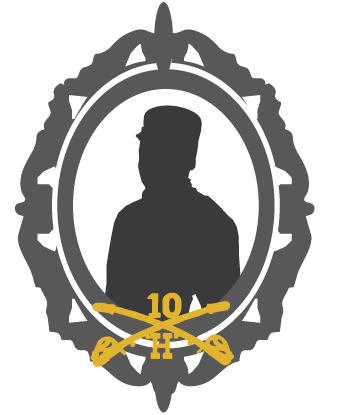 Silhouette of man with crossed sabers and 10 and H at base of round picture frame.