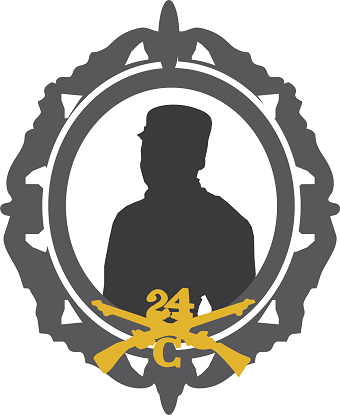 Silhouette of man, with gold crossed rifles and 24 above the cross, and C below.