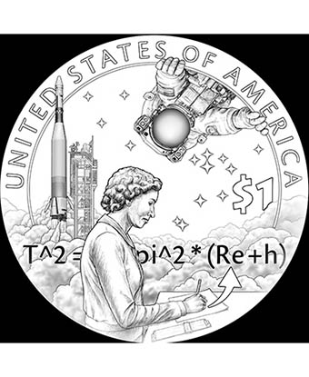 A coin design showing a woman writing equations, with a rocket and astronaut in the background.