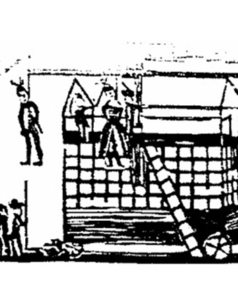 Drawing of people including a woman hanging from a gallows