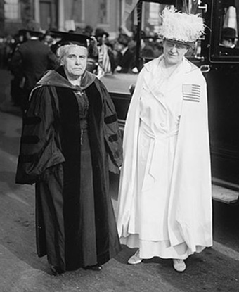 Carrie Chapman Catt (right) with Anna Howard Shaw, 1917. Public Domain, Bain Coll., LOC