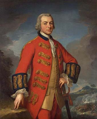 Half length color portrait of General Sir Henry Clinton in military uniform and dress sword