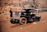 Tug's jeep, stuck in Lavender Canyon, 1957.
