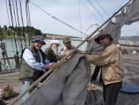 Bending on the mizzen staysail