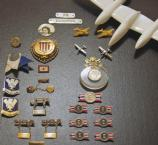 WWII AAC related pins, efficiency ribbons, Lockheed Co. pins and AAC Sweat heart jewelry