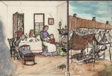 Detail illustration showing a Civil War era family at home and a prisoner at Camp Sumter, contrasting their conditions.