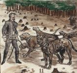 Captain Wirz and his pets. The Bloodhound Spot, in the foreground