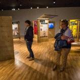 Visitors view the traveling exhibit