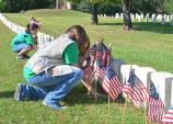 Placing flags, Memorial Day 2013