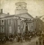 The Greeneville Courthouse where Andrew Johnson's body laid in state.