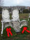 Wreaths on the graves of Andrew Johnson's sons, both of whom served in the Union Army during the Civil War.