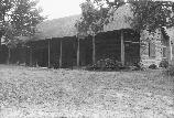A front view of the Parch Corn Hunting Camp Lodge, later renamed to the Charit Creek Lodge.