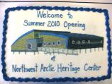 Cake decorated with image of visitor center