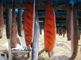 Orange and pink fish fillets hang from a wooden rack.