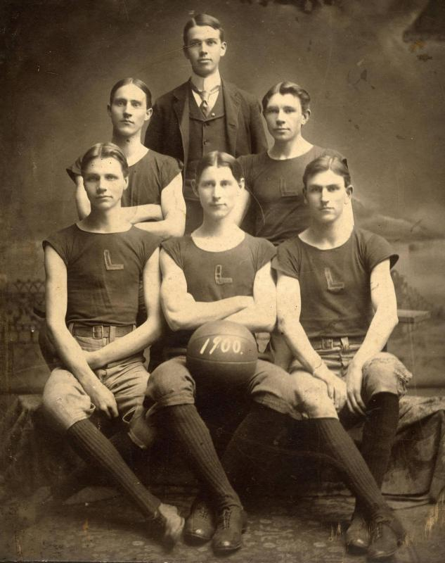 Charlie(Carl) Sandburg, pictured in the second row, second on the right, held the title of Captain of his Lombard College Basketball Team