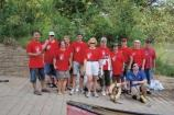Employees from Coca Cola employees after a day on the Chattahoochee River picking up trash.