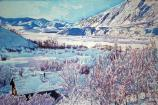 """East Fork Winter"" 24"" x 36"" acrylic paints, stretched canvas"