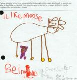 child's drawing of  a moose and the word