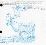 child's drawing of a caribou