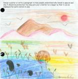 child's drawing of mountains
