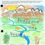 child's drawing of mountains and a river, and the words