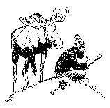 Cartoon of a bull moose watching over the shoulder of an artist at work