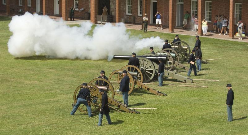 Cannon demonstrations inside fort
