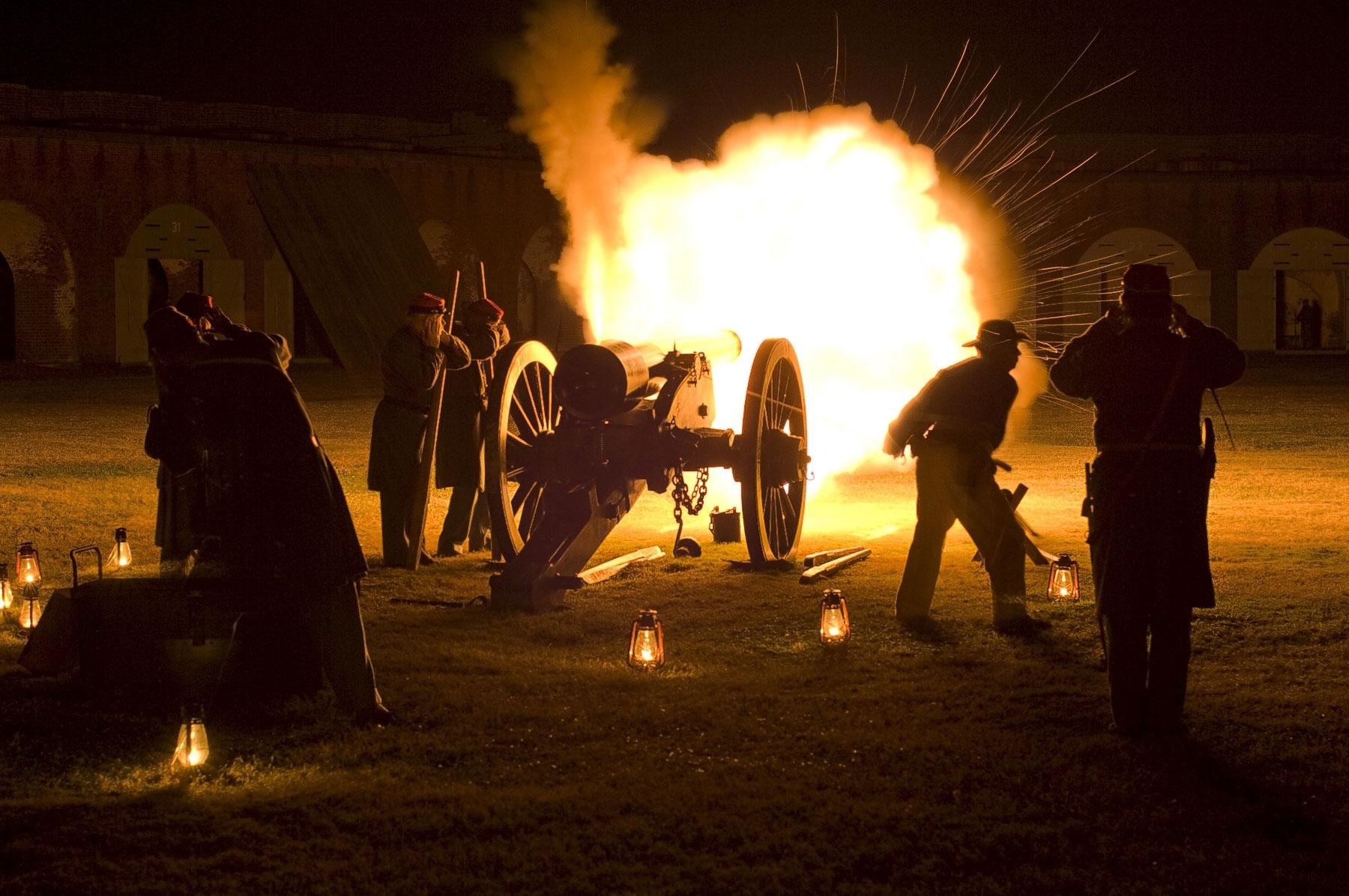 Civil war cannon firing