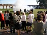 Cannon firing inside Fort Pulaski