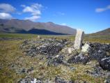 An inuksuk, or a stone stood on end to help herd caribou, stands on the tundra in front of a mountain.