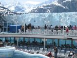 Cruise ship passengers enjoying a close up view of Margerie Glacier.