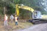 Heavy equipment arrives on the site