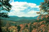 Brilliant fall colors on mountains in North Carolina.