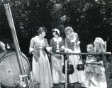 Lady VIPs at Guilford Courthouse National Military Park demonstrate 18th century cooking. Mrs. Ellen Lyon, Mrs. Anne Kennedy, Mrs. Kay Tiddy, Mrs. Ann Pierce and daughter