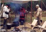 Members of the Guilford Militia interpret 18th century camp life for visitors to the park