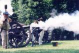 Artillery demonstrations are performed by volunteers at Guilford Courthouse National Military Park.