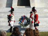 American and British troops in period uniforms lay a wreath at Chalmette Monument on 193rd anniversary of Battle of New Orleans.