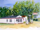 Watercolor of the Billy Carter Service Station in Plains, Georgia