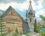 Water color painting with pen of historic church at Lake Bennett as it appears today