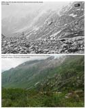 Top: Black and white photo of rocky mountainside.  Bottom: color photo of mountainside covered in vegetation.