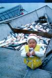 small girl sitting in a boat filled with fish