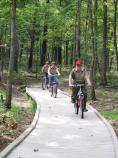 Boy Scouts riding bicycles on the Mammoth Cave Railroad Bike & Hike Trail in Mammoth Cave National Park.