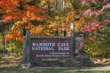 Fall image of the Mammoth Cave National Park entrance sign at the park's eastern entrance.