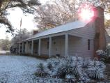 A rare blanket of snow covers the Parkway Information Cabin in Ridgeland, Mississippi, and provides visitors a unique view along the Parkway.