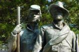 Detail of bronze soldiers on the Confederate Monument at Shiloh.