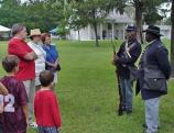 The reenactors of the 54th Massachusetts presented life in a Civil War Black regiment for visitors at the 2000 Kingsley Heritage Celebration.