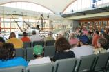NPS ranger presents a talk on Wilbur and Orville Wright to visitors