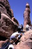 Climbing to the next interpretive stop on the Fiery Furnace guided hike.