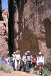Walking to the next interpretive stop on the Fiery Furnace guided hike.