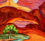 painting of sandstone arch, tree, stream